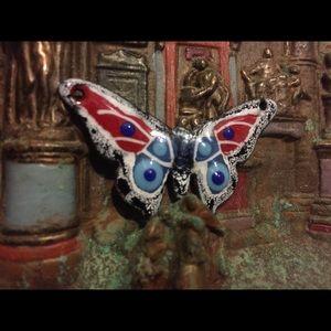 Enamel Butterfly Pendant Necklace